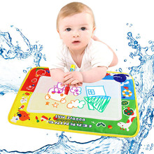 46X30cm Large Water Drawing Mat Board Aquadoodle Brinquedo Aqua Doodle For Children Painting Games With Template Baby Kids Toys(China)