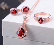 Natural Red Garnet Ring Pendant Earrings Natural Gemstone Jewelry Set 925 Silver Fashion round Women Wedding Necklace gift Ring