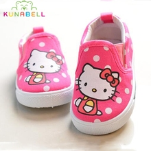 2017 Spring Toddlers Brand Canvas Shoes Baby Girls Hello Kitty Shoes Boys Cartoon Lovely Flats Shoes Kids First Walkers C392