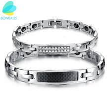 Boniskiss Carbon Fiber Jewelry Lovers' Magnetic Stone Bracelet Healing Stainless Steel Women Men Bracelets Health Care Gift(China)