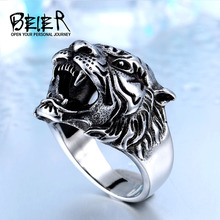 BEIER 316L Stainless Steel Titanium Tiger Head Ring Men Personality Unique Men's Animal Jewelry BR8-307 US size(China)