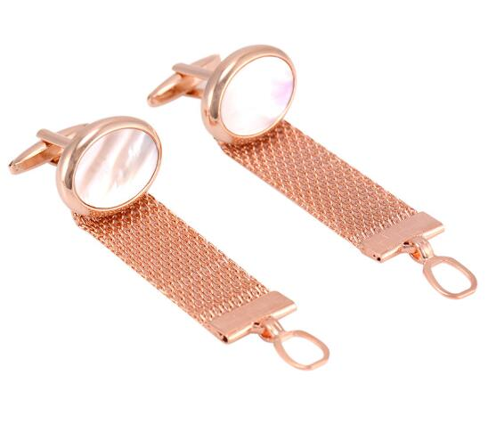 Luxury Rose Gold Oval Shell Chain Cufflinks Chain Cuff Links Shirt Cuff Button Men's Fashion Jewelry Accessory Gift 5pairs/lot