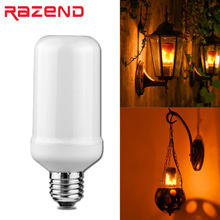 LED 110V 220V E27 Dynamic Flame Effect LED Corn light Bulb Simulation Fire Burning Flicker Replace Gas Lantern Decoration lamps(China)
