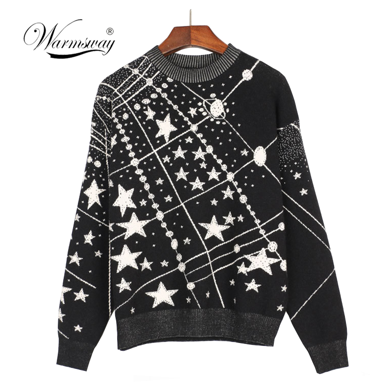Retro Galaxy Star Pattern Sweater Women Vintage Long Sleeve Jumpers 2018 Autumn Winter Laides Jacquard Sweaters Pullovers C-285