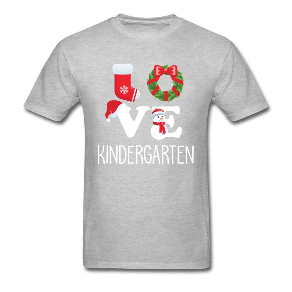 Love Kindergarten Shirt Teacher Christmas Gift_grey