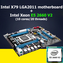 HUANAN X79 motherboard CPU kit X79 LGA 2011 motherboard CPU Intel Xeon E5 2660 V2(10 cores/20 threads) WUSON store good quality