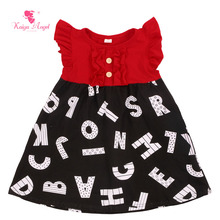 Kaiya Angel Baby Dress Letter Dresses For Girls Cotton Red Princess Girls Clothes 2017 Kids Dress