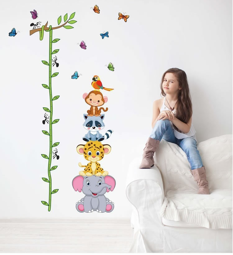 HTB1GMgXcr3XS1JjSZFFq6AvupXaN - Cute tiger animals stack height measure wall stickers decal kids adhesive vinyl wallpaper mural baby girl boy room nursery decor