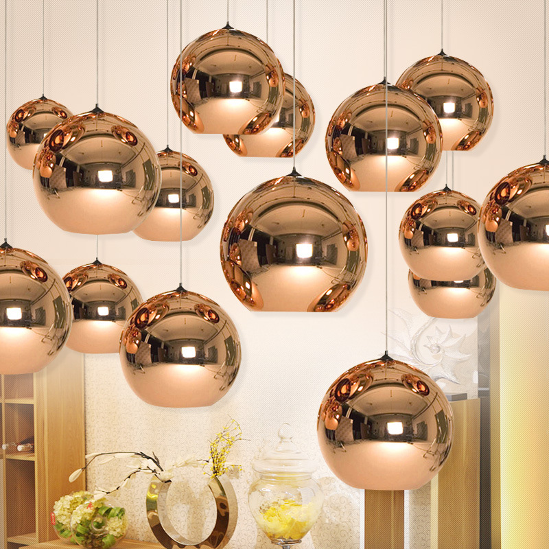 Modern electroplated glass balls mirror pendant lamp E27 bulb LED copper/sliver/gold Dining room Bar Restaurant ZDD0007<br>