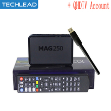 mag250 with usb antenna OTT Arabic IPTV box Smart Media player with 1 year Europe Account QHDTV French Spain Germany VOD live TV