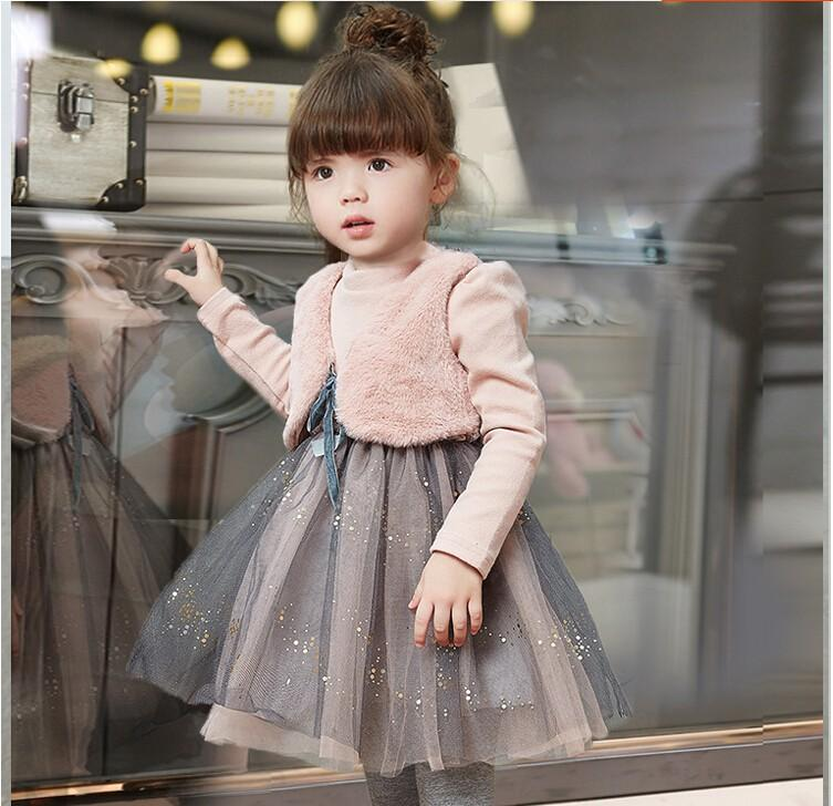 Girls children clothing winter dresses clothes child two more small ma3 jia3 net yarn splicing dress baby fashion princess dress<br>