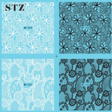 STZ 1 Sheets High Quality Blue Base Elegant White/Black Lace Pattern Water Transfer Sticker Nail Art Decal Watermark MF029-032