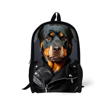 Cool Children's 3D Animal Backpack Cute Dog Rottweiler Backpack for Kids Printing Tiger Leopard Boys Backpack Mochila infantil