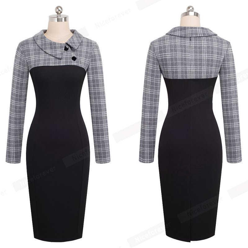 Nice-forever Elegant Vintage Fitted winter dress full Sleeve Patchwork Turn-down Collar Button Business Sheath Pencil Dress b238 9