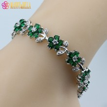 925 Sterling Silver Top Quality Green Created Emerald Bracelet Health Fashion  Jewelry For Women Free Jewelry Box SL90
