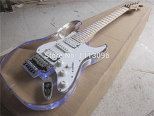 Free shipping+electric guitar+st guitarra/maple neck Acrylic body electric guitar/with LED+tremolo