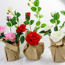 Wholesale wedding flower set artificial roses potted flowers Linen vase with vase party birthday gift Christmas home decoration