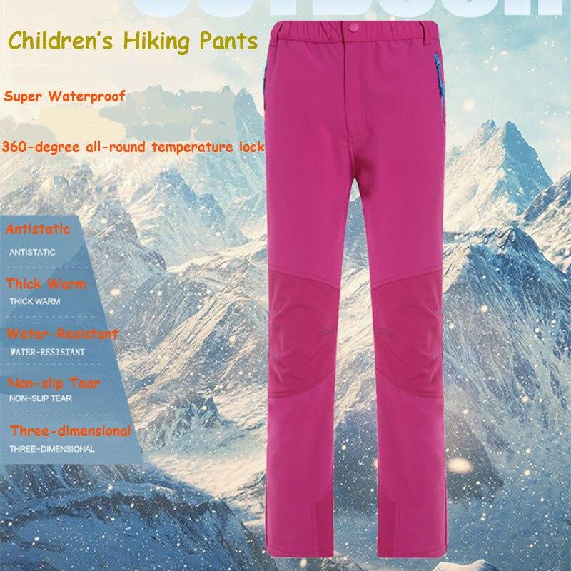 Childrens Softshell Hiking Pants Winter Kids Windproof Anti-static Warm Breathable Ski Pants Boys Girls Hiking Camping Pants <br><br>Aliexpress