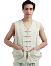 Shanghai Story Men's Chinese Vintage Linen Vest Farmer T Shirt Worker Sleeveless Tank Top Summer Casual Wear