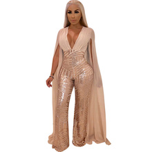 462858aa2338 Women Chiffon Split Long Sleeve Sequin Jumpsuit Sexy Elegant V Neck Loose  Wide Leg Pants Sparkly