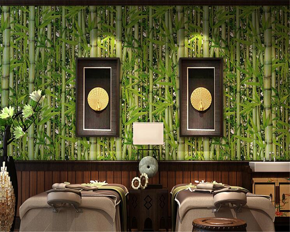 Beibehang Modern Home Decor 3D Wallpaper Bamboo Forest Green Fresh Wallpaper Living Room TV Cafe Background 3D Wallpaper mural<br>