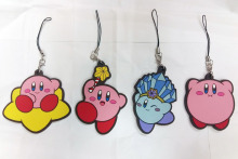 4 pcs/set Genuine anime  game Super Mario Star Kirby  pvc figure phone strap/keychain pendant free shipping