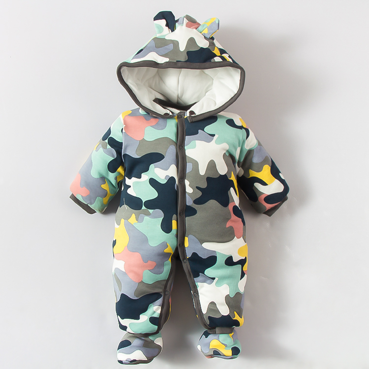 0~12M Winter Warm Cotton Newborn Baby Romper Boy Clothes Military Style Bebeb Onesie Infant Costume Hooded Jumpsuit Bebek Giyim<br>