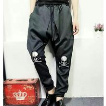 Korean version spring and summer hair stylist large size fashion casual skull head small feet elastic waist black men pantsM-2XL