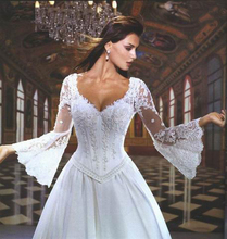 Don's Bridal Classsic Style Sexy Design Lace A-line Beautiful Wedding Dress Court Train Romantic Long Sleeve Bride Gowns