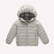 Kids Lightweight Down Jacket Girl and Boy White duck down Coat Chilren Zipper Hooded Clothes Outerwear 3-12 Years(China)
