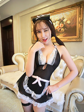 girl lace see through lingerie Maid Apron 3XL Women Sexy Lingerie with G-String Room Servant Lolita costumes