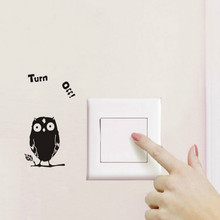 !Cartoon Kawaii Owl Turn Off Switch Stickers Funny Wall Stickers For Bedroom Bathroom Living Room Home Decoration