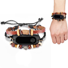 Buy LANDFOX 170mm New Fashion Retro leather bracelet Beading Bracelet Strap Replacement Xiaomi Mi Band 2 Smart Wristband Brown for $2.65 in AliExpress store