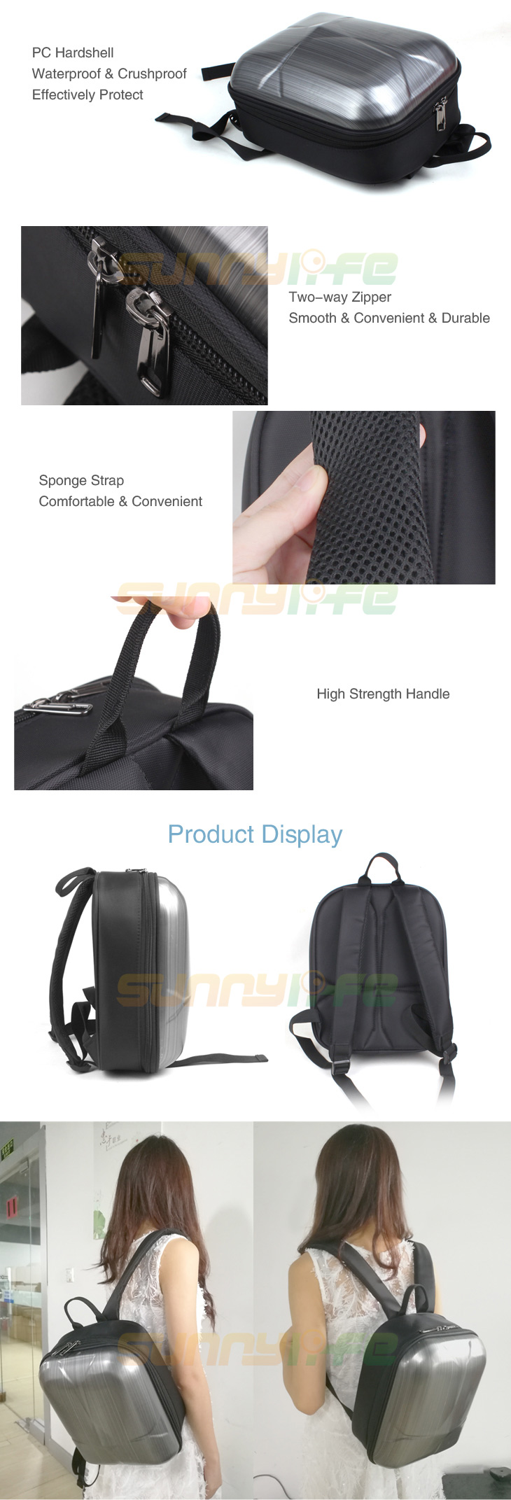 Mini Hardshell Backpack Waterproof Protective Shoulder Bag Storage Bag for DJI SPARK