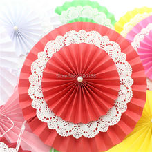 Free Shipping 200pcs/lot 8 inch(20cm) Hanging Foldable Paper Fan Wedding Xmas Bridal Shower Party Decoration Flower Paper Fan