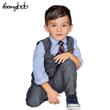 Baby Boys 3pcs Gentleman Set Clothes Vest Suit + Tshirt With Tie + Pants Children Kids Spring Autumn Cotton Party Wedding Wear(China)