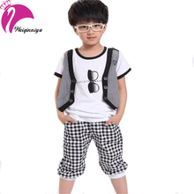 Cool Summer 2017 Boy Sets Fashion Design Pattern Casual Cotton 2 Pieces Striped Sport T-Shirts Pants Kids Clothes Tracksuit H
