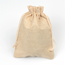 Rustic Hessian Burlap Bags Candy Gift Drawstring Jute Bag Wedding Favors Packaging Pouches Sacks Wedding Decor Cream 13x18cm(China)