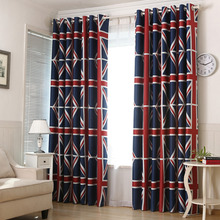 1 PC Blue Striped Grid Printed Blackout Curtains Living Room Modern Window Curtains for the Bedroom Kids Curtains for Children(China)