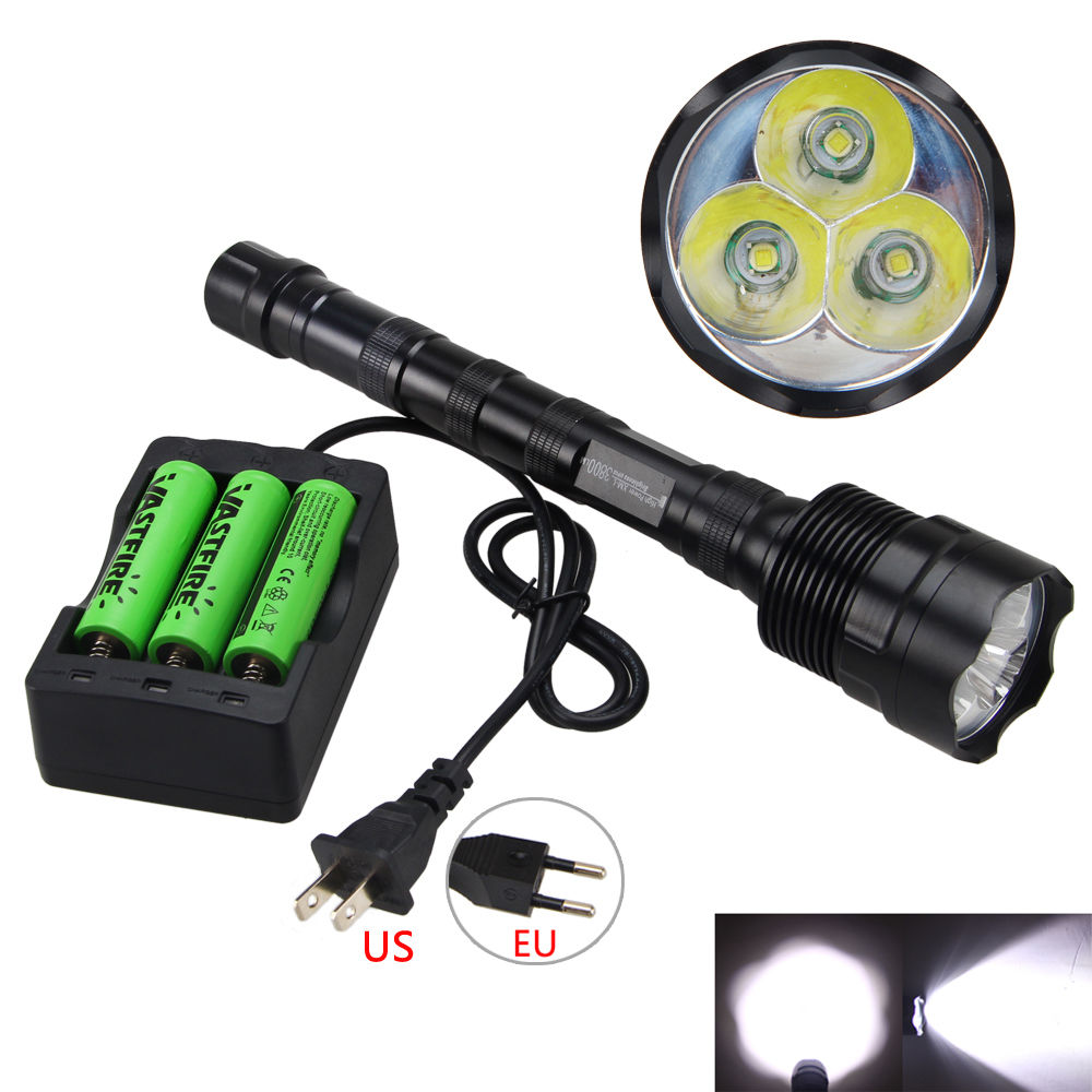 Brightness 3800 Lumens 3x XM-L T6 LED Flashlight Torch Light Lamp 5 MODE<br>
