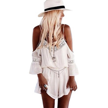 Playsuit wild style V-neck chiffon rompers womens jumpsuit lace skirt sexy halter harness piece shorts clothing vestidos YFF6113