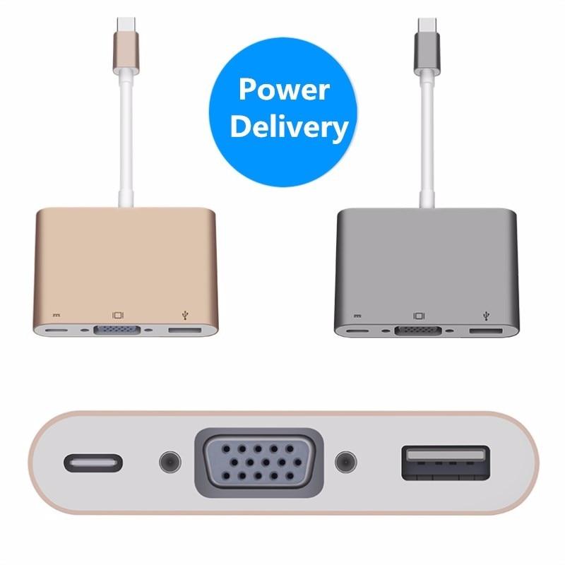 Tipo c usb 3.1 para hdmi/vga conversor adaptador 3 em 1 hdmi hub de carga para For macbook 12 frete gratis<br>