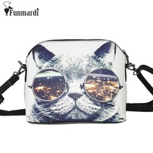 Hot sale Cats Printing women Handbags Shell bag women PU leather messenger bags new arrival women cross-body bags WLHB1116(China)