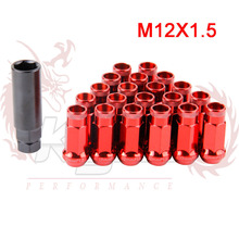 KYLIN STORE - SR48 Auto Steel Acorn Rim Extended Open End Wheel Racing Lug Nuts With One Key M12X1.5/12x1.25 20pcs LN013