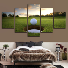 Canvas Pictures Wall Art Framework Living Room Decor 5 Pieces Golf Ball Course Painting HD Prints Leisure Sport Landscape Poster(China)