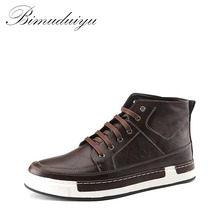BIMUDUIYU Autumn New high-top Men's Ankle Boots Fashion Tie Casual Non-slip Waterproof Snow Boots Microfiber Leather Retro shoes(China)