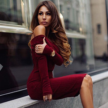 Buy DoreenBow Long Sleeve Dress Womens Clothing Winter Dresses Women Sexy Dresses Burgundy Shoulder Ruffle Bodycon Dress for $10.88 in AliExpress store