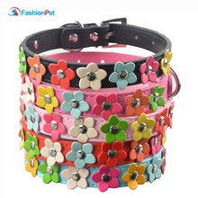 Fashion 6 Colors 4 Sizes Leather Puppy Pet Dog Collar Cat Neck Strap Necklace with Studded(China)