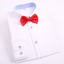 Buy 2017 Luxury Brand High Mens Wedding Tuxedo French Style Men Dress Shirts Groom Long Sleeve Shirts Bow Tie for $14.97 in AliExpress store