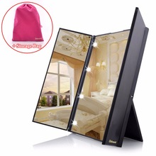 Tri Fold Adjustable Led Lighted Travel Mirror 8 LEDs Touch Screen Make-up Mirror Compact Pocket Mirror for Beauty Makeup